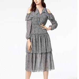 Madison Jules Cold Shoulder Flounce Midi Dress